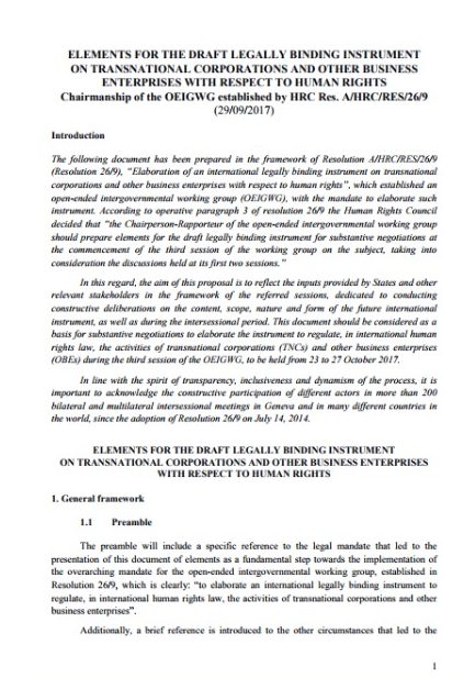 Elements for the draft legally binding instrument on transnational corporations and other business enterprises with respect to human rights